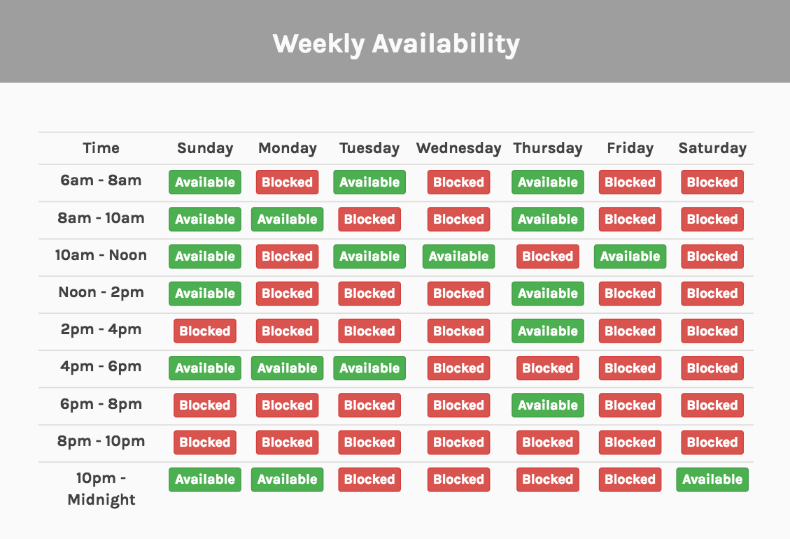weekly availability calendar